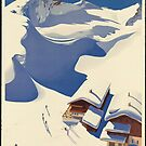 Vintage Skiing Travel Advertisement Art Poster by jnniepce