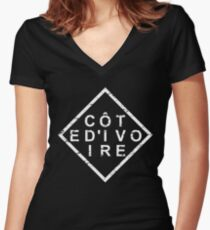 Stylish Cote d'Ivoire Women's Fitted V-Neck T-Shirt