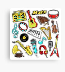 Musical Instruments Doodle for Scrapbook, Stickers, Patches, Badges with Guitar, Drum and Vinyl. Canvas Print