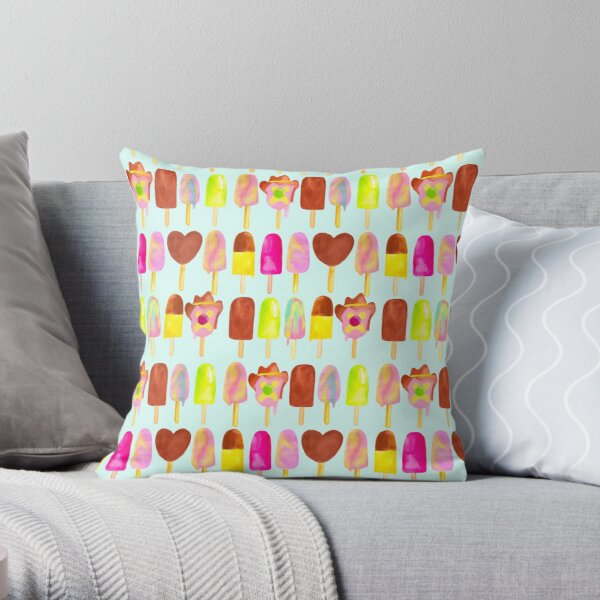 Aussie Ice Creams - Blue Throw Pillow