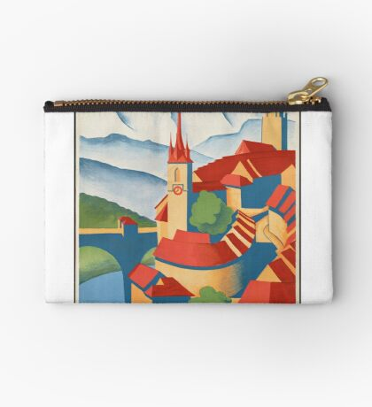Berne Switzerland Vintage Travel Advertisement Art Poster Zipper Pouch