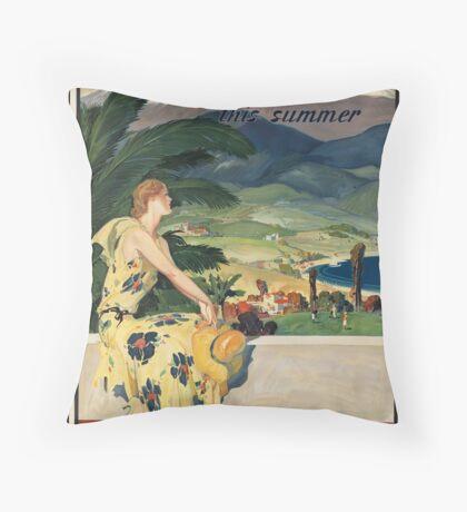 California Vintage Travel Advertisement Art Poster Throw Pillow