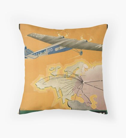 Russia USSR Vintage Travel Advertisement Art Poster Throw Pillow