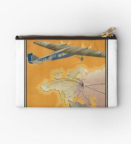 Russia USSR Vintage Travel Advertisement Art Poster Zipper Pouch