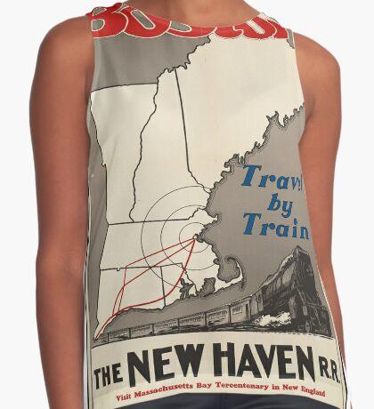Boston Vintage Travel Advertisement Art Poster Sleeveless Top