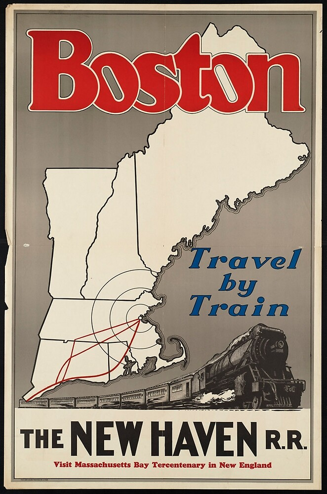Boston Vintage Travel Advertisement Art Poster by jnniepce
