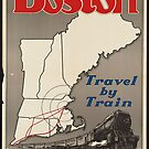Boston Vintage Travel Advertisement Art Poster by jnniepce