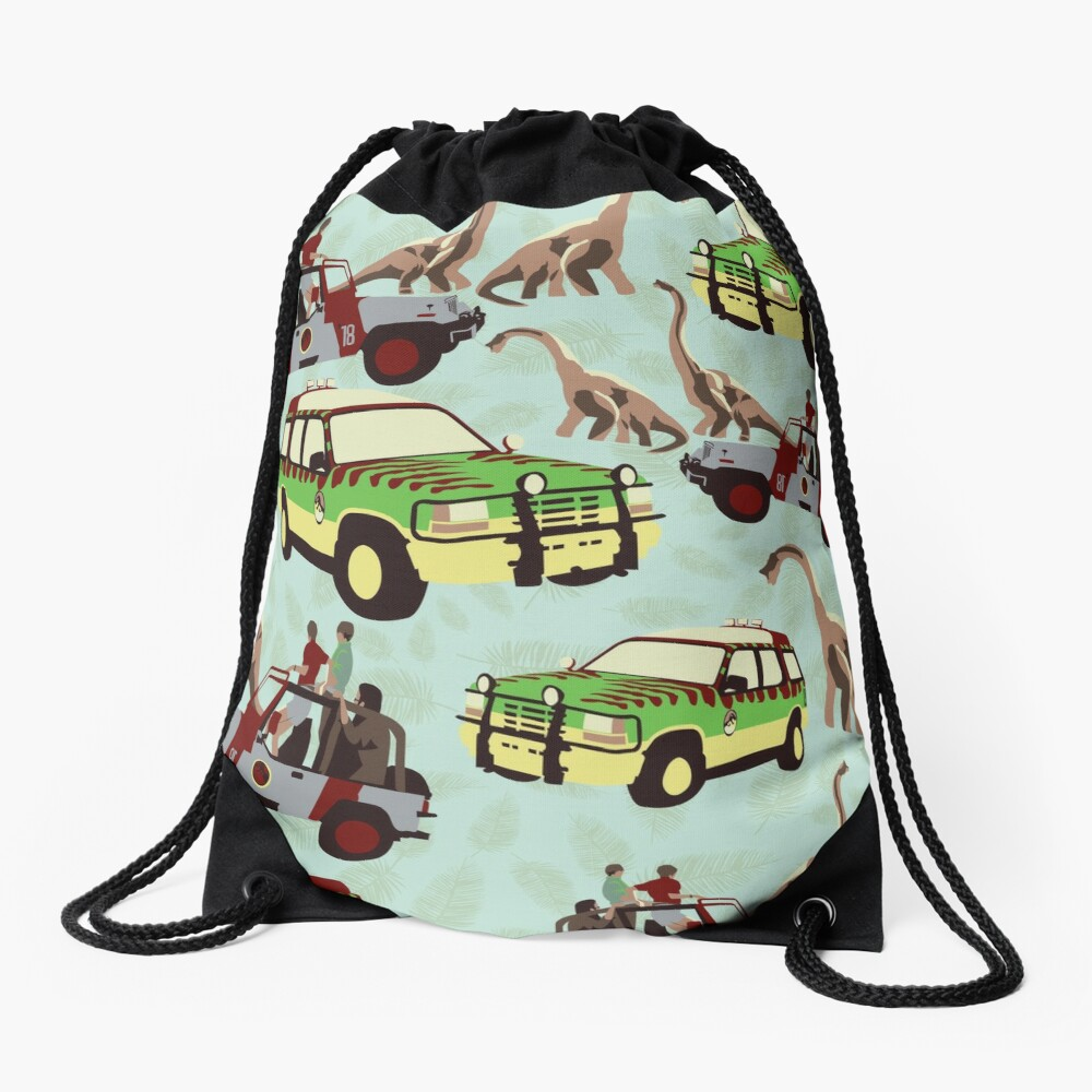 Jurassic Ride Drawstring Bag