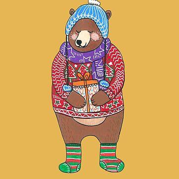 Christmas Bear Bringing Gifts by DoodlesAndStuff