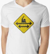 Dangerous Swimming Mens V-Neck T-Shirt