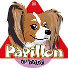 Papillon On Board - Brown&White by DoggyGraphics