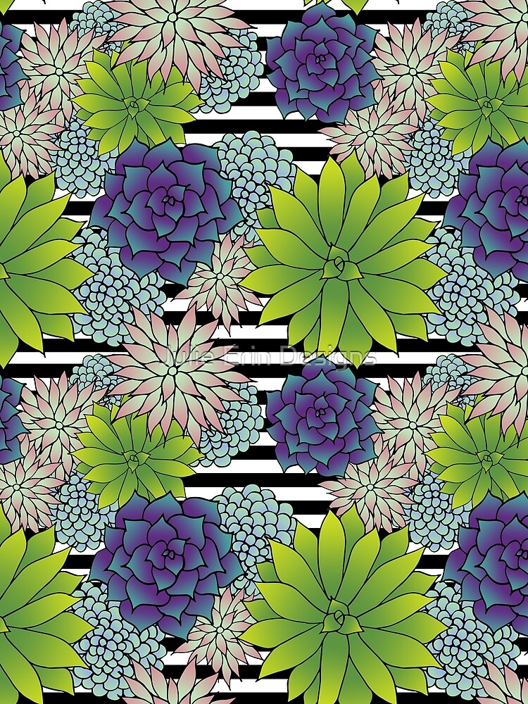Succulents on Black and White Stripes by julieerindesign