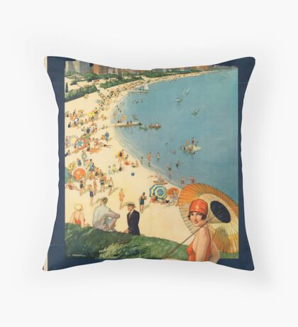 Chicago Ilinois Vintage Travel Advertisement Art Poster Throw Pillow