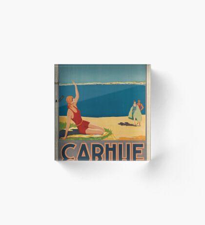 Carhue Vintage Travel Advertisement Art Poster Acrylic Block