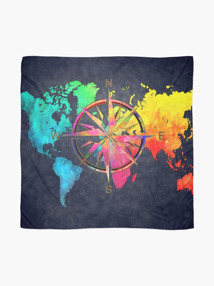 Alternate view of world map wind rose 9 #worldmap #map Scarf