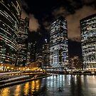 Chicago skyline from wolf point one evening by Sven Brogren
