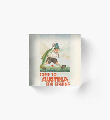 Austria Vintage Travel Advertisement Art Poster Acrylic Block