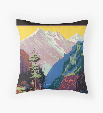 Train Utah Colorodo Rockies Vintage Travel Advertisement Art Poster Throw Pillow