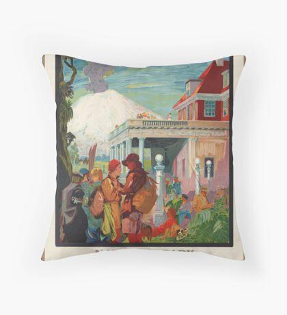 New Zealand Vintage Travel Advertisement Art Poster Throw Pillow