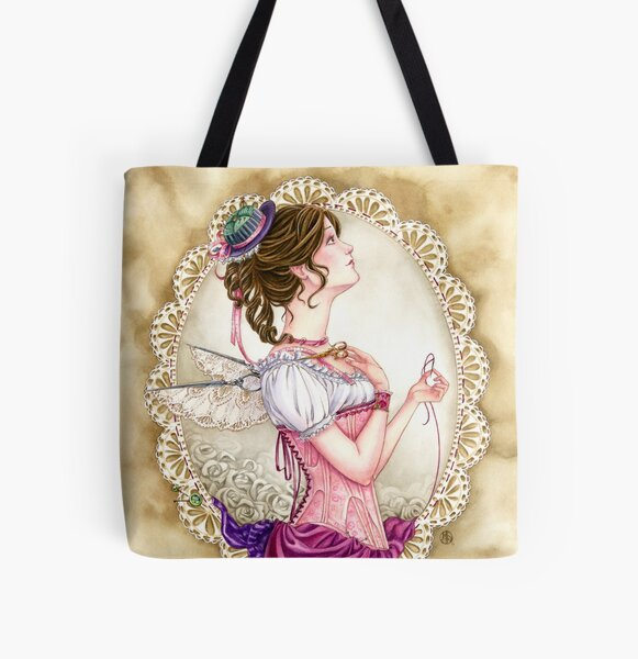 Victorian Sewing Fairy with lace and corset All Over Print Tote Bag