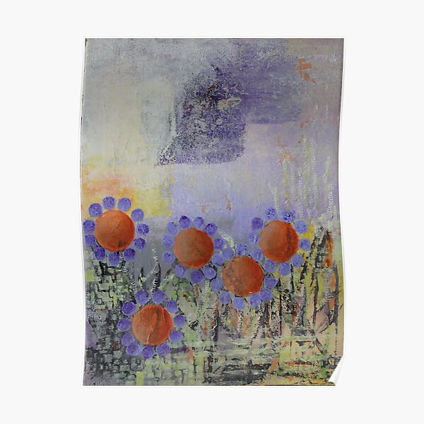 Cheery Flowers Abstract Poster