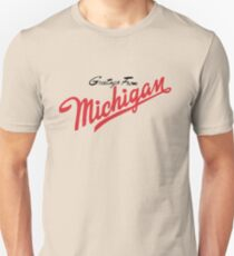 Greetings from michigan gifts merchandise redbubble greetings from michigan minimalist unisex t shirt m4hsunfo