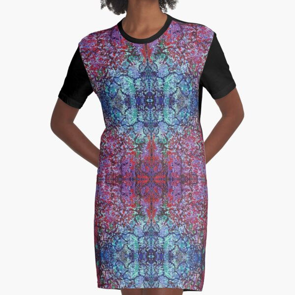 Bohemian Blossom Burst Graphic T-Shirt Dress