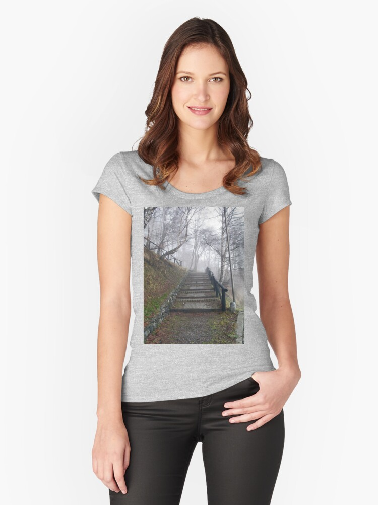 Forest stairs Women's Fitted Scoop T-Shirt Front