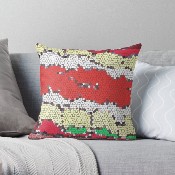 Tub of Lasagna rolls- stained glass Throw Pillow