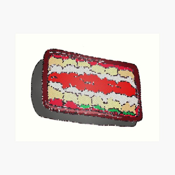 Tub of Lasagna rolls- stained glass Art Print