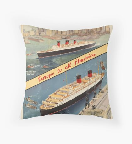 Cunard Cruise Ship Vintage Travel Advertisement Art Poster Throw Pillow