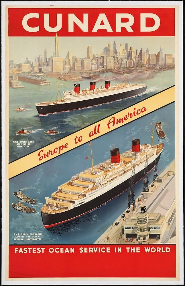 Cunard Cruise Ship Vintage Travel Advertisement Art Poster by jnniepce
