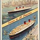 Cunard Cruise Ship Vintage Travel Advertisement Art Poster by jnniepce