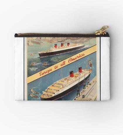 Cunard Cruise Ship Vintage Travel Advertisement Art Poster Zipper Pouch