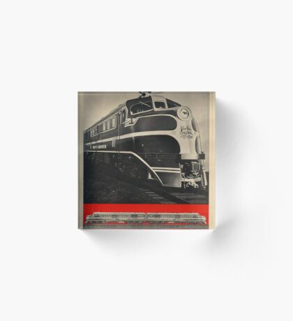 Diesel Power Train Vintage Travel Advertisement Art Poster Acrylic Block