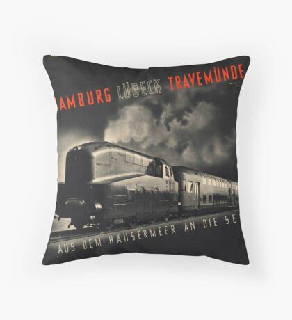 Hamburg Train Vintage Travel Advertisement Art Poster Throw Pillow