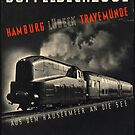 Hamburg Train Vintage Travel Advertisement Art Poster by jnniepce