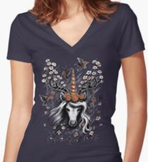 Deer Unicorn Flowers Women's Fitted V-Neck T-Shirt