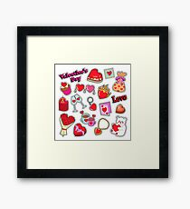 Happy Valentines Day Doodle for Scrapbook, Stickers, Patches, Badges.  Framed Print
