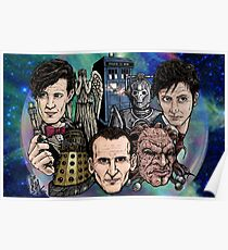 Faces Of Dr. Who Poster