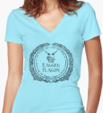 Visit the Ragged Flagon! Women's Fitted V-Neck T-Shirt
