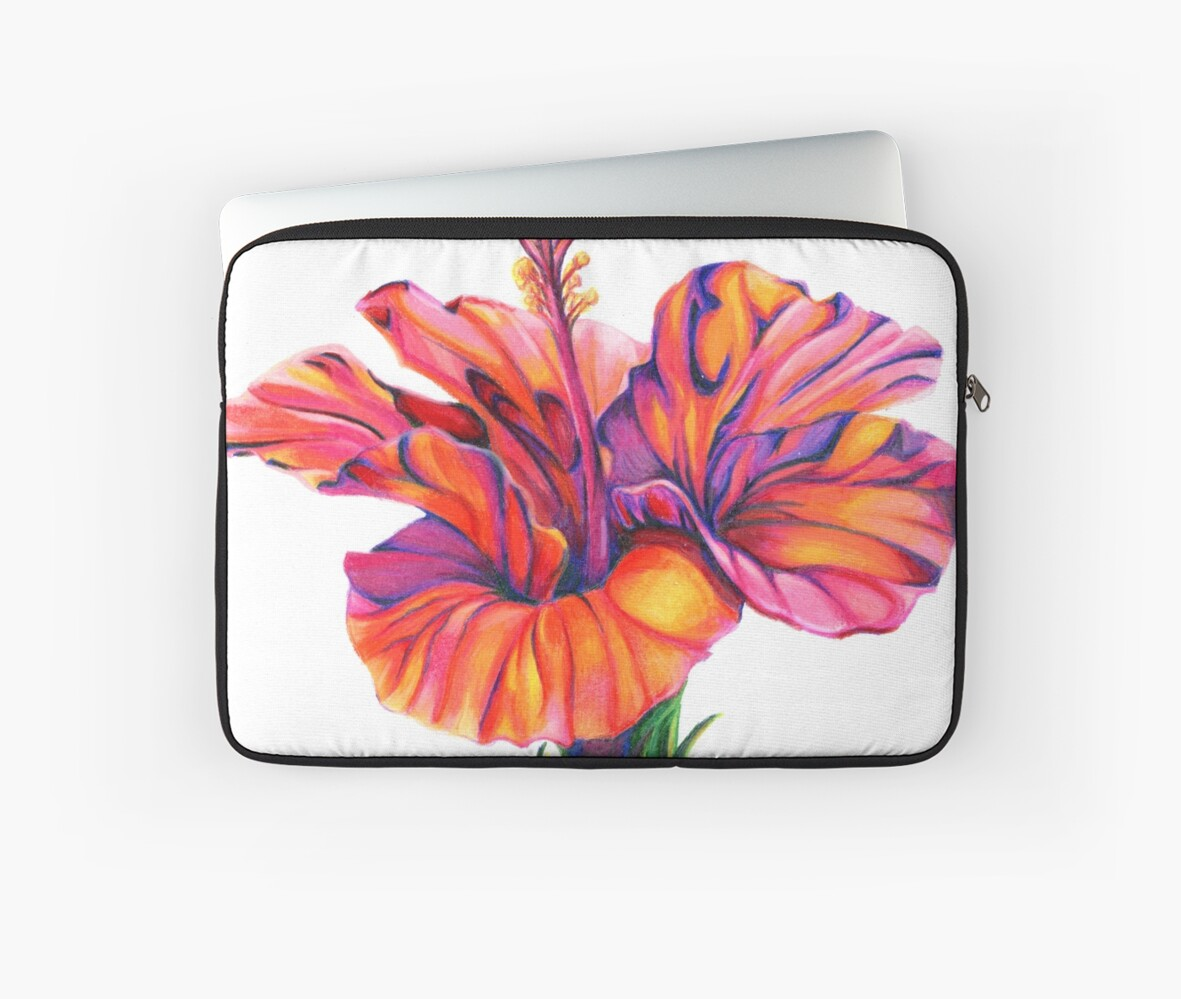 Red Hibiscus Colored Pencil Floral Art Laptop Sleeves By Shannon