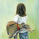 Girl and Greyhound by Charlotte Yealey