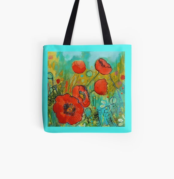 Fire Red Poppy All Over Print Tote Bag
