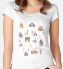 Gingerbread Village Women's Fitted Scoop T-Shirt