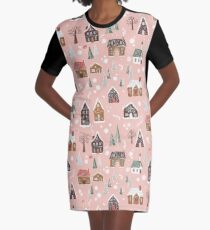 Gingerbread Village Graphic T-Shirt Dress