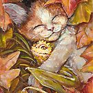 Nap time - Sleepy Kitty with yellow dragon  by artbydianita