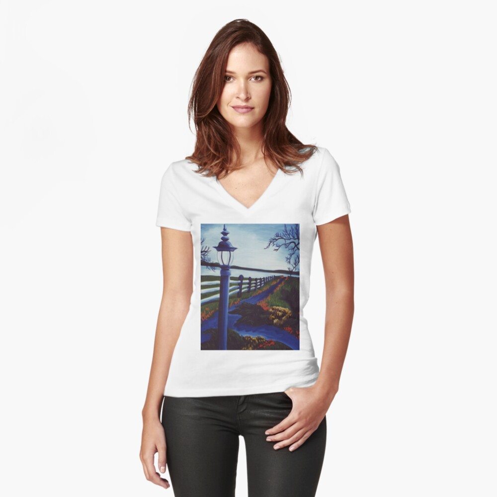 Garden on the Lake Women's Fitted V-Neck T-Shirt Front