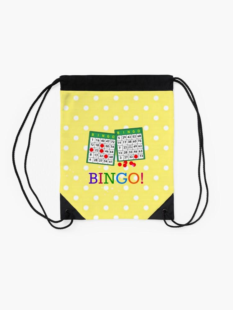 Alternate view of Bingo! Bingo cards and chips Drawstring Bag