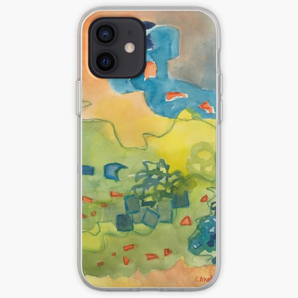 Green, Orange and Blue Abstract Watercolor iPhone Soft Case